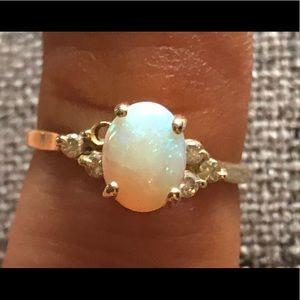 Opal diamond gold ring